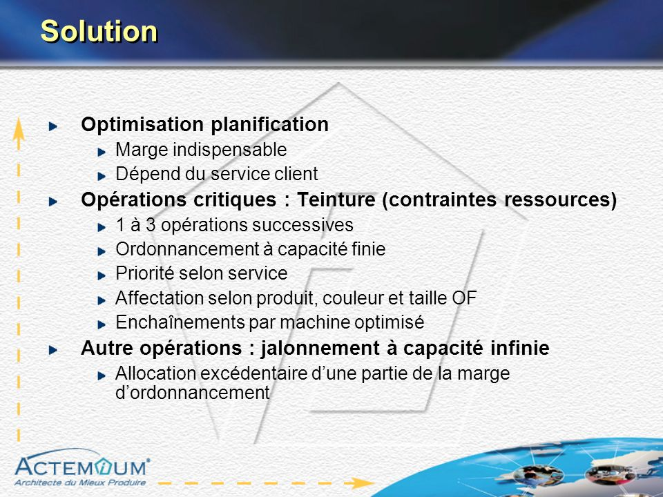 Solution Optimisation planification