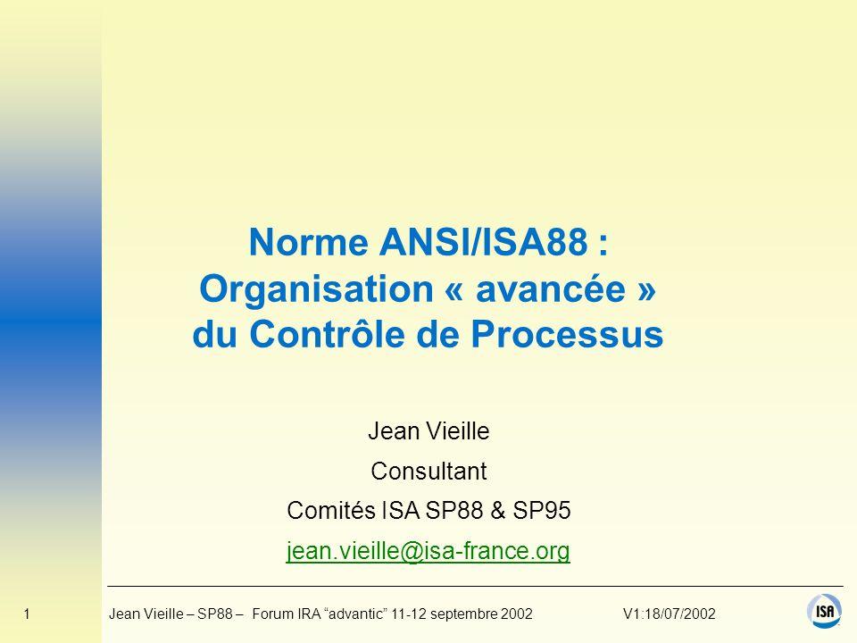 Norme ANSI/ISA88 : Organisation « avancée » du Contrôle de Processus