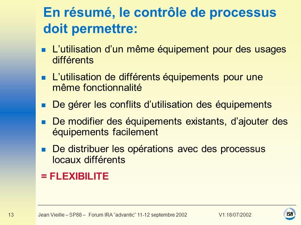 En résumé, le contrôle de processus doit permettre: