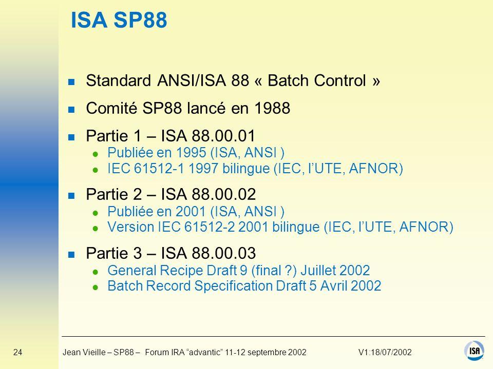 ISA SP88 Standard ANSI/ISA 88 « Batch Control »
