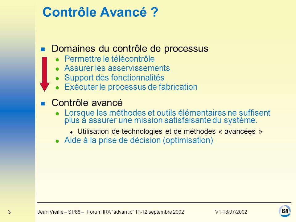 Contrôle Avancé Domaines du contrôle de processus Contrôle avancé
