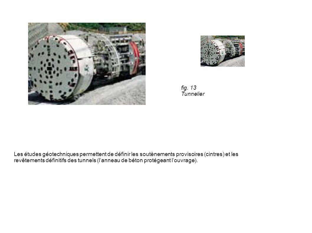 fig. 13 Tunnelier Les études géotechniques permettent de définir les soutènements provisoires (cintres) et les.