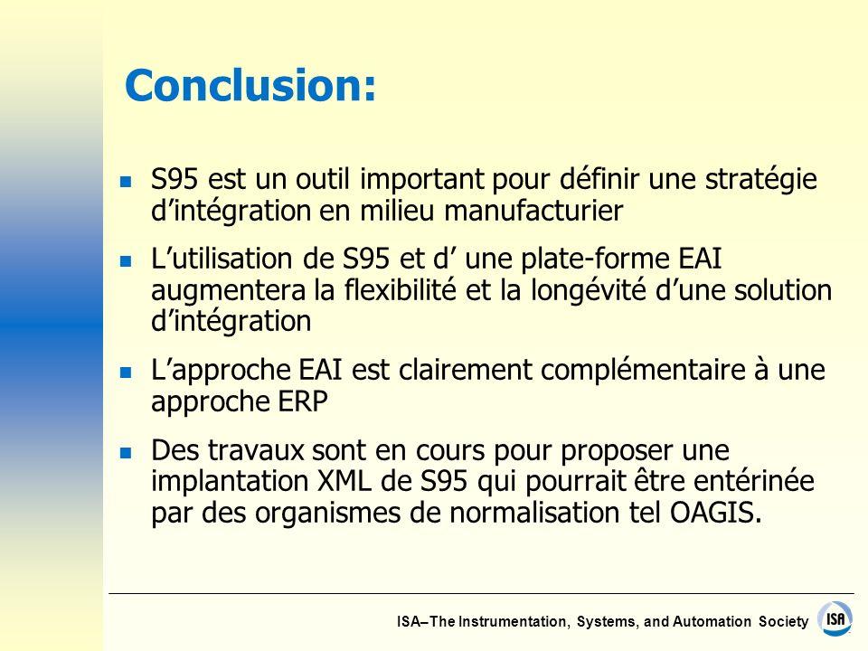 Conclusion: S95 est un outil important pour définir une stratégie d'intégration en milieu manufacturier.