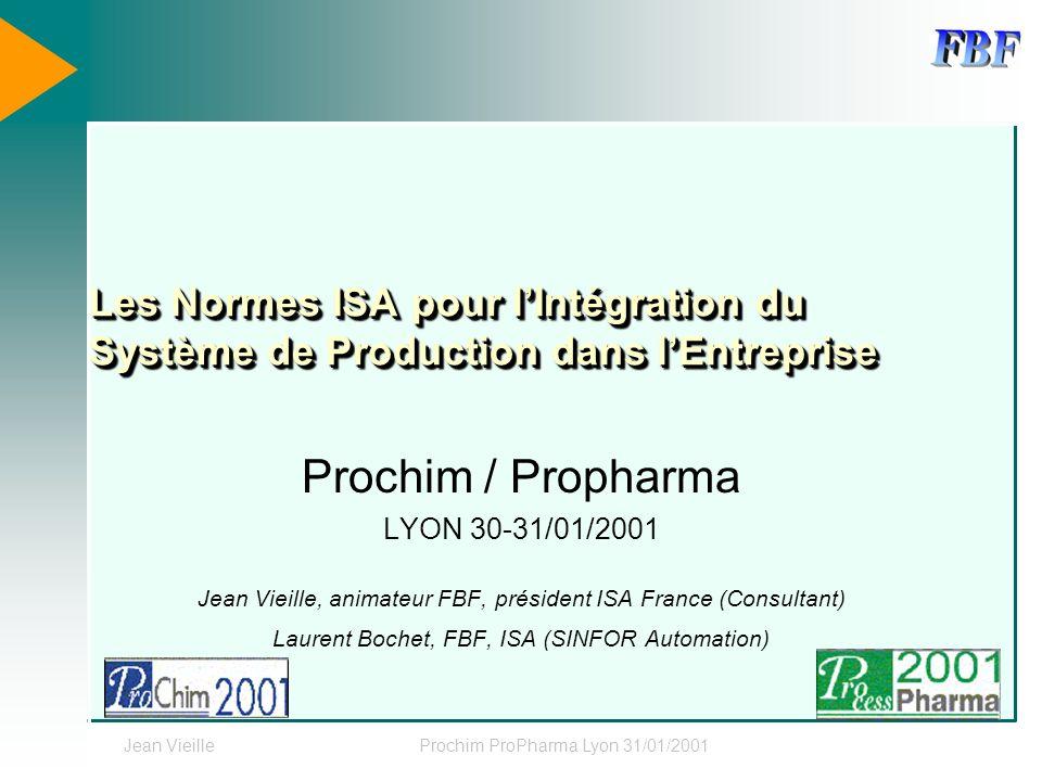 Les Normes ISA pour l'Intégration du Système de Production dans l'Entreprise