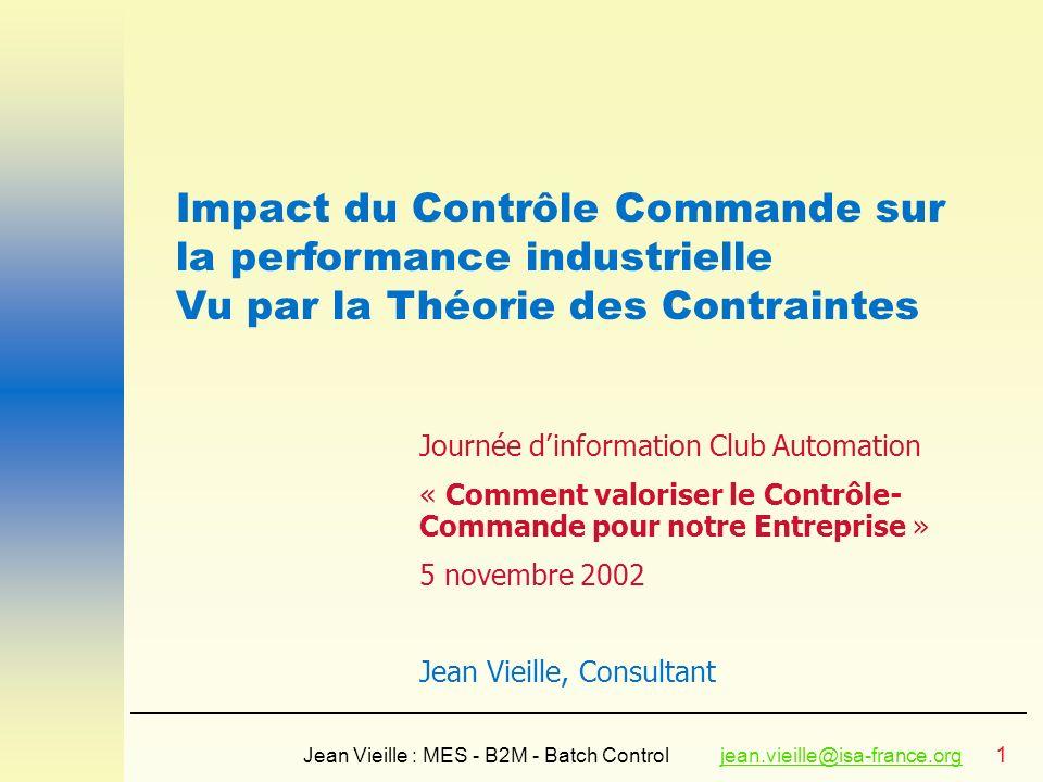 Impact du Contrôle Commande sur la performance industrielle
