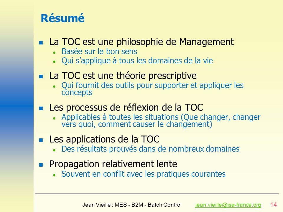 Résumé La TOC est une philosophie de Management