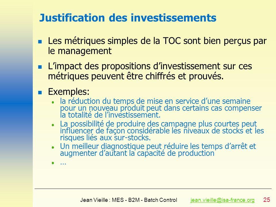 Justification des investissements