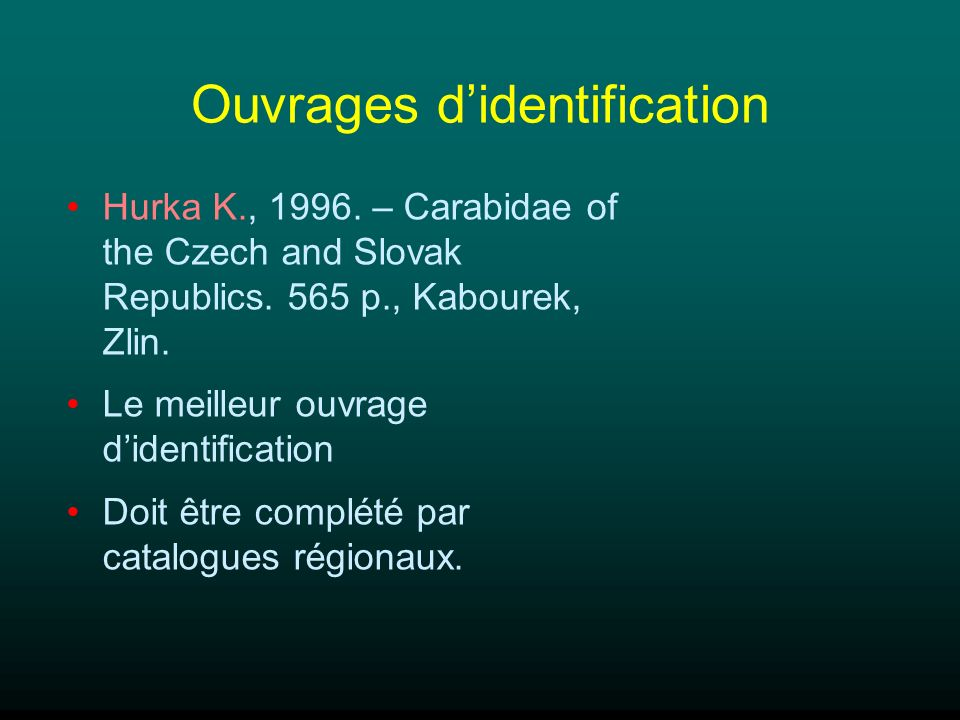 Ouvrages d'identification