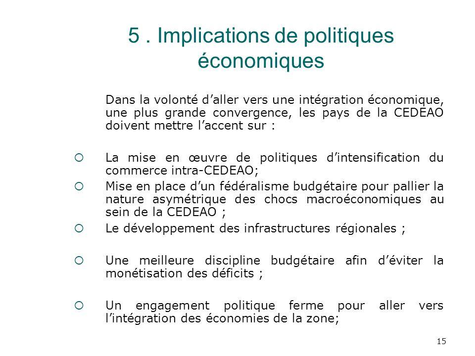 5 . Implications de politiques économiques