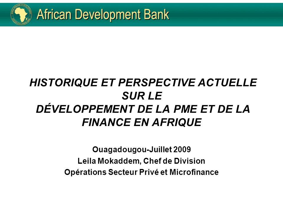HISTORIQUE ET PERSPECTIVE ACTUELLE SUR LE DÉVELOPPEMENT DE LA PME ET DE LA FINANCE EN AFRIQUE