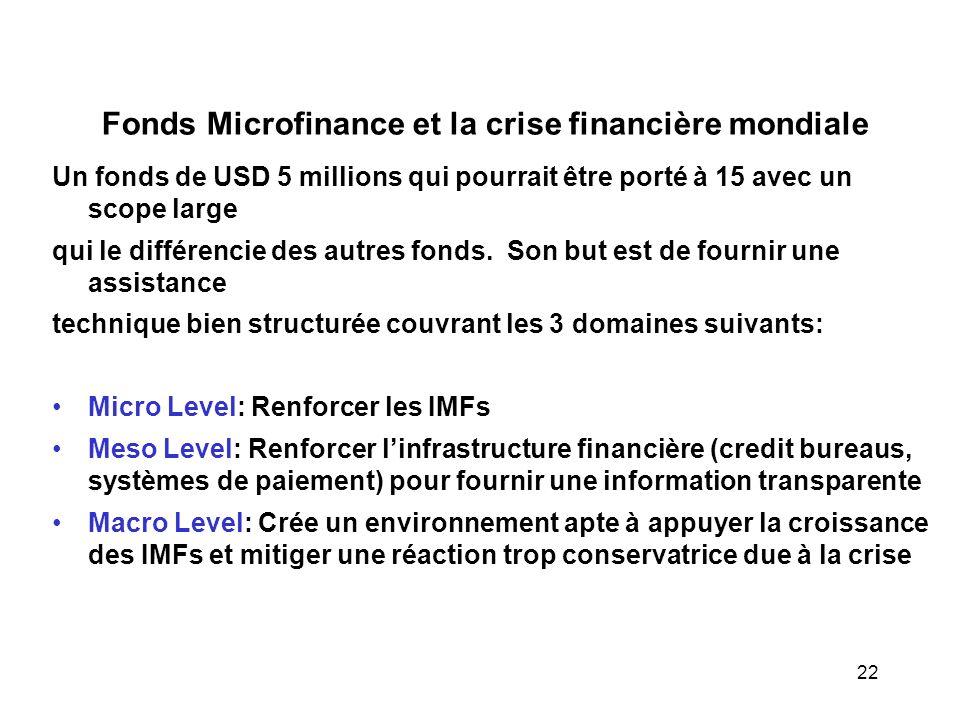 Fonds Microfinance et la crise financière mondiale