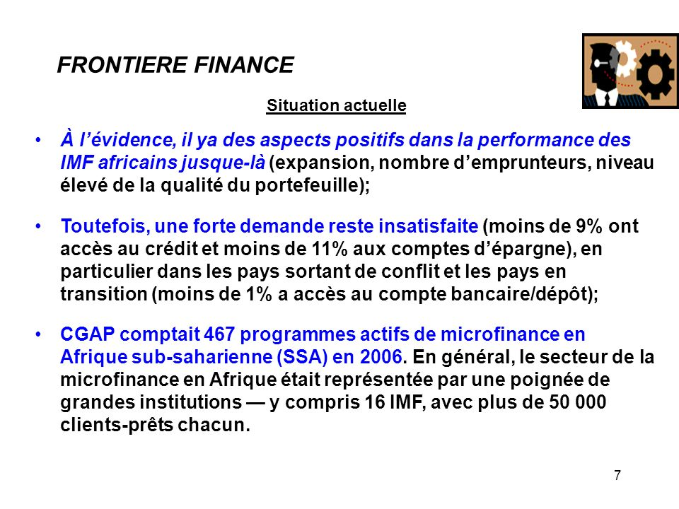 FRONTIERE FINANCE Situation actuelle.