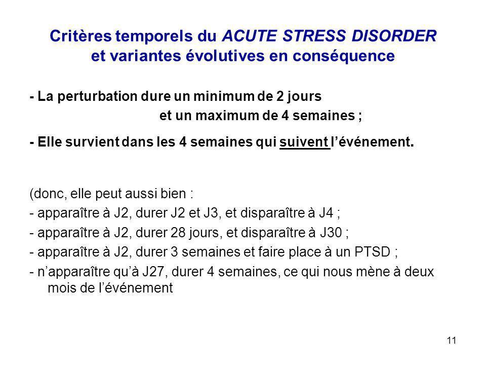 Critères temporels du ACUTE STRESS DISORDER et variantes évolutives en conséquence