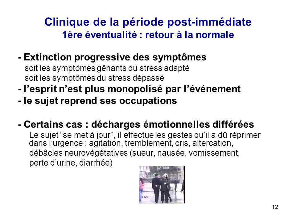 Clinique de la période post-immédiate 1ère éventualité : retour à la normale