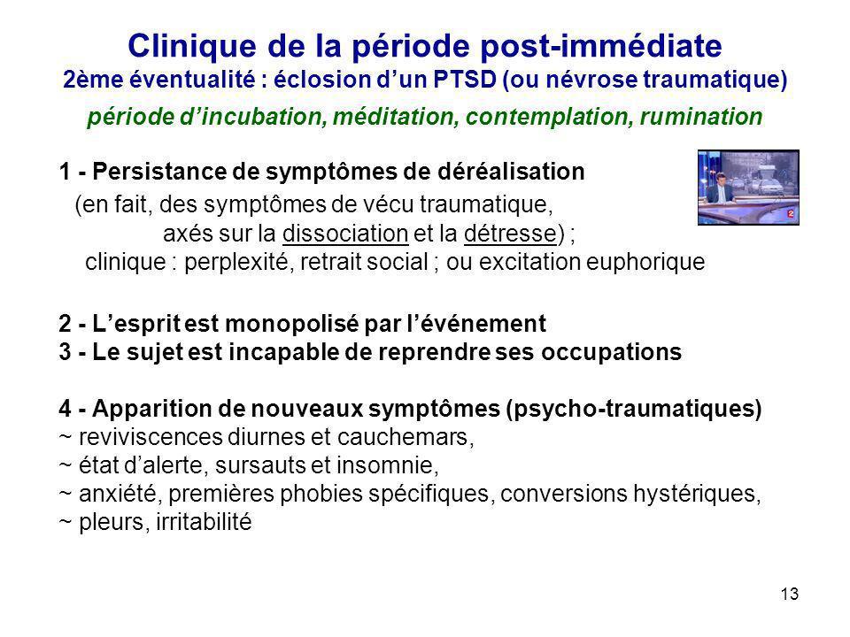 Clinique de la période post-immédiate 2ème éventualité : éclosion d'un PTSD (ou névrose traumatique) période d'incubation, méditation, contemplation, rumination