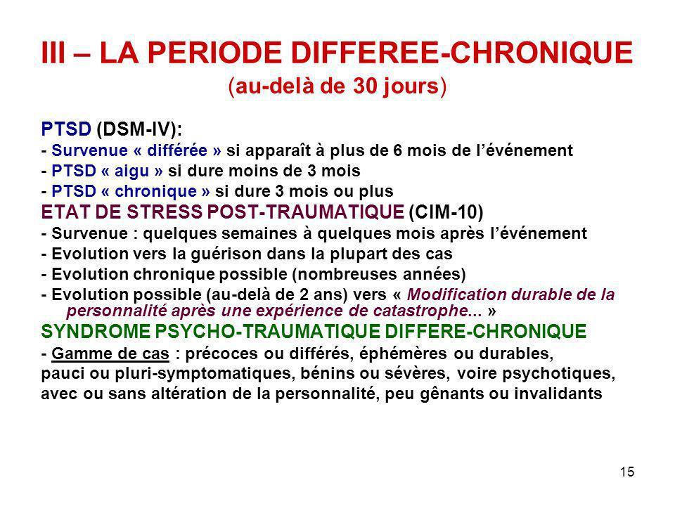 III – LA PERIODE DIFFEREE-CHRONIQUE (au-delà de 30 jours)