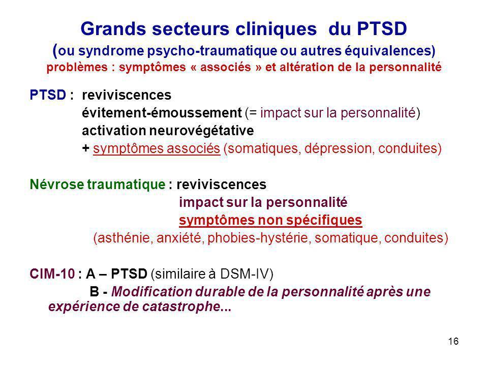 Grands secteurs cliniques du PTSD (ou syndrome psycho-traumatique ou autres équivalences) problèmes : symptômes « associés » et altération de la personnalité