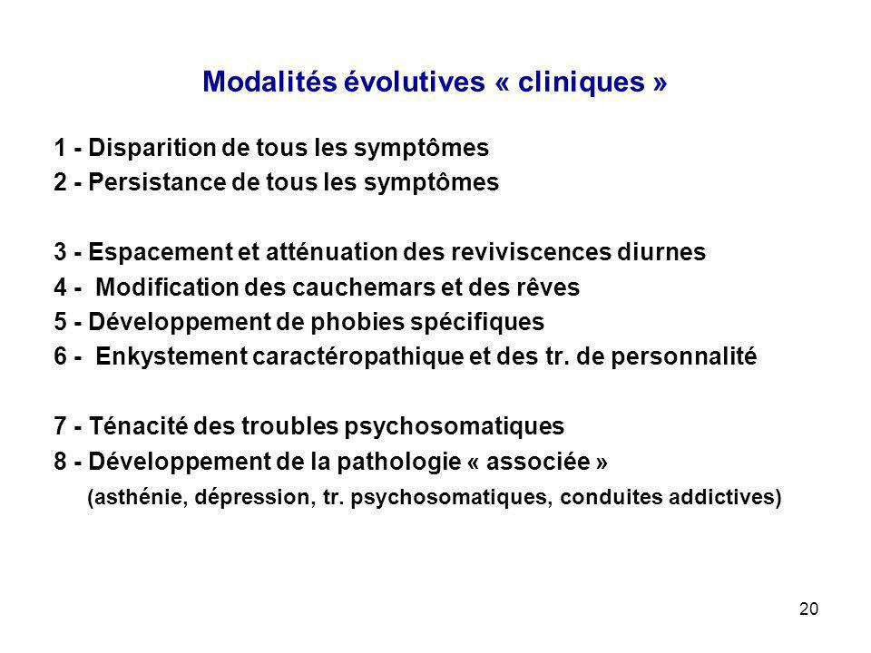 Modalités évolutives « cliniques »