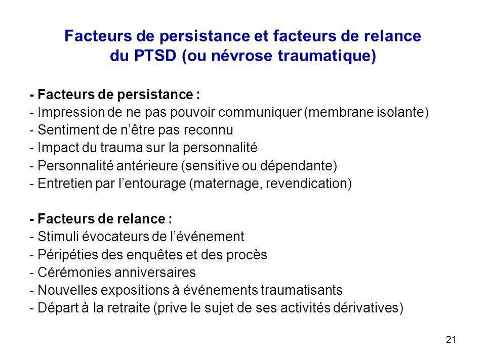 Facteurs de persistance et facteurs de relance du PTSD (ou névrose traumatique)