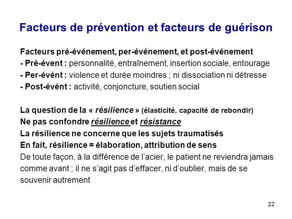 Facteurs de prévention et facteurs de guérison
