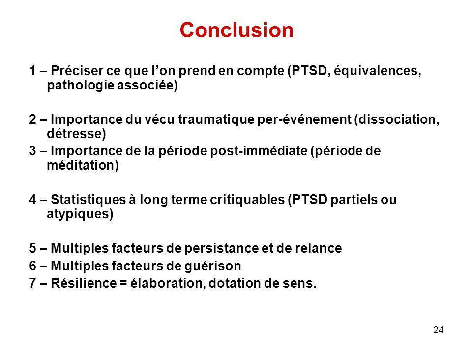 Conclusion 1 – Préciser ce que l'on prend en compte (PTSD, équivalences, pathologie associée)
