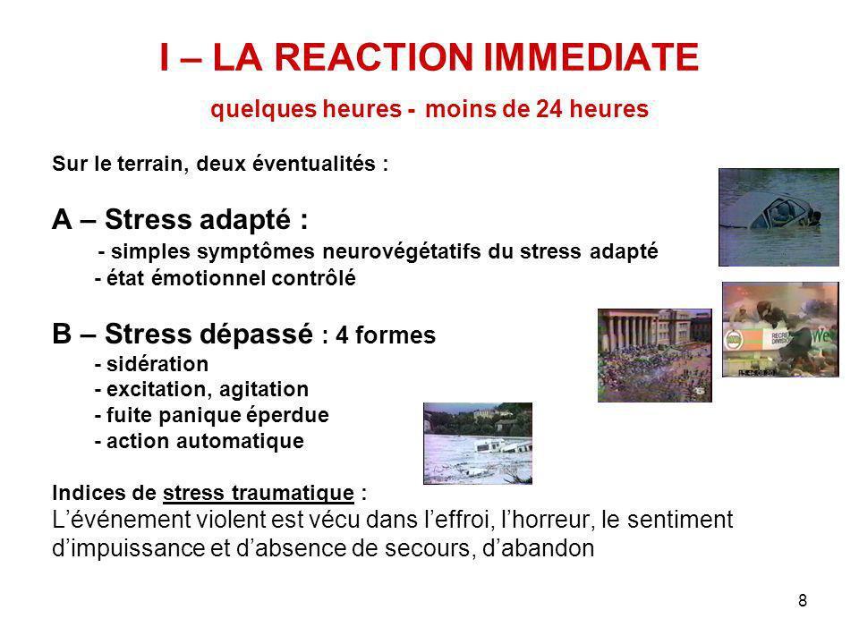 I – LA REACTION IMMEDIATE quelques heures - moins de 24 heures