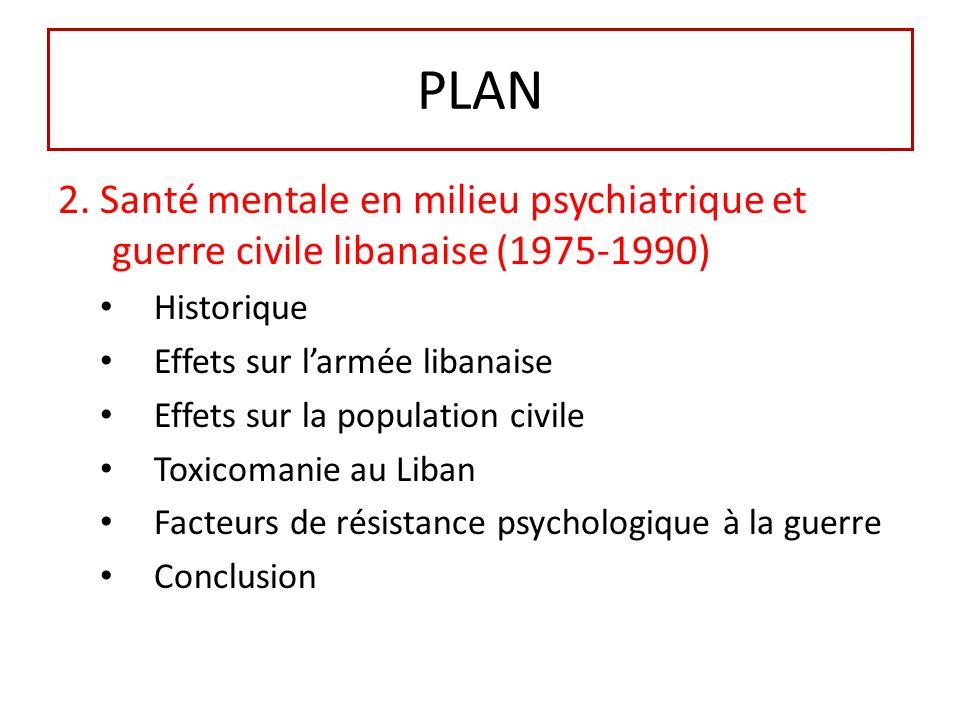 PLAN 2. Santé mentale en milieu psychiatrique et guerre civile libanaise (1975-1990) Historique. Effets sur l'armée libanaise.