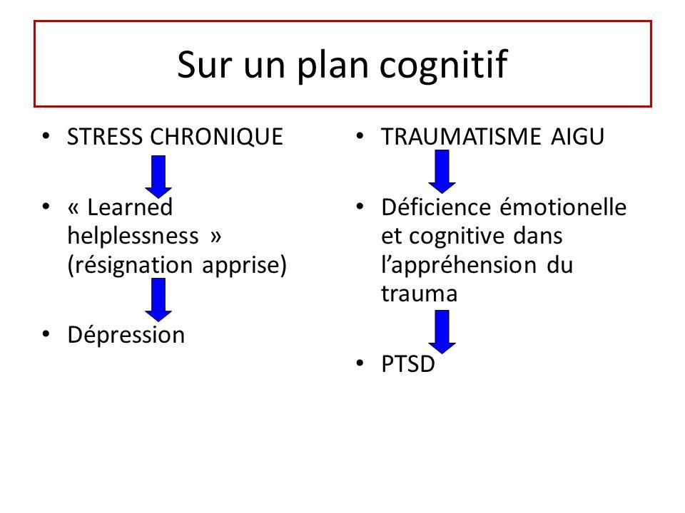 Sur un plan cognitif STRESS CHRONIQUE