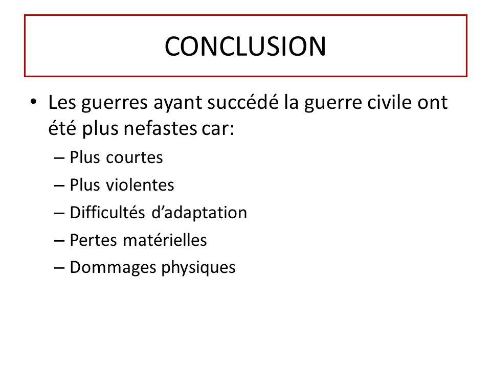 CONCLUSION Les guerres ayant succédé la guerre civile ont été plus nefastes car: Plus courtes. Plus violentes.