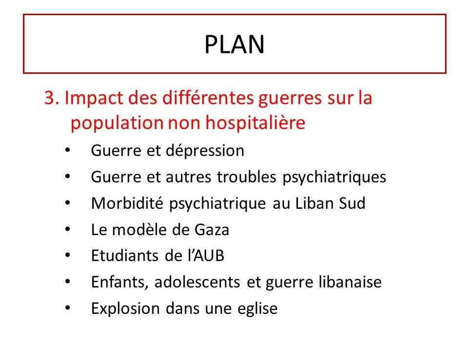 PLAN 3. Impact des différentes guerres sur la population non hospitalière. Guerre et dépression. Guerre et autres troubles psychiatriques.