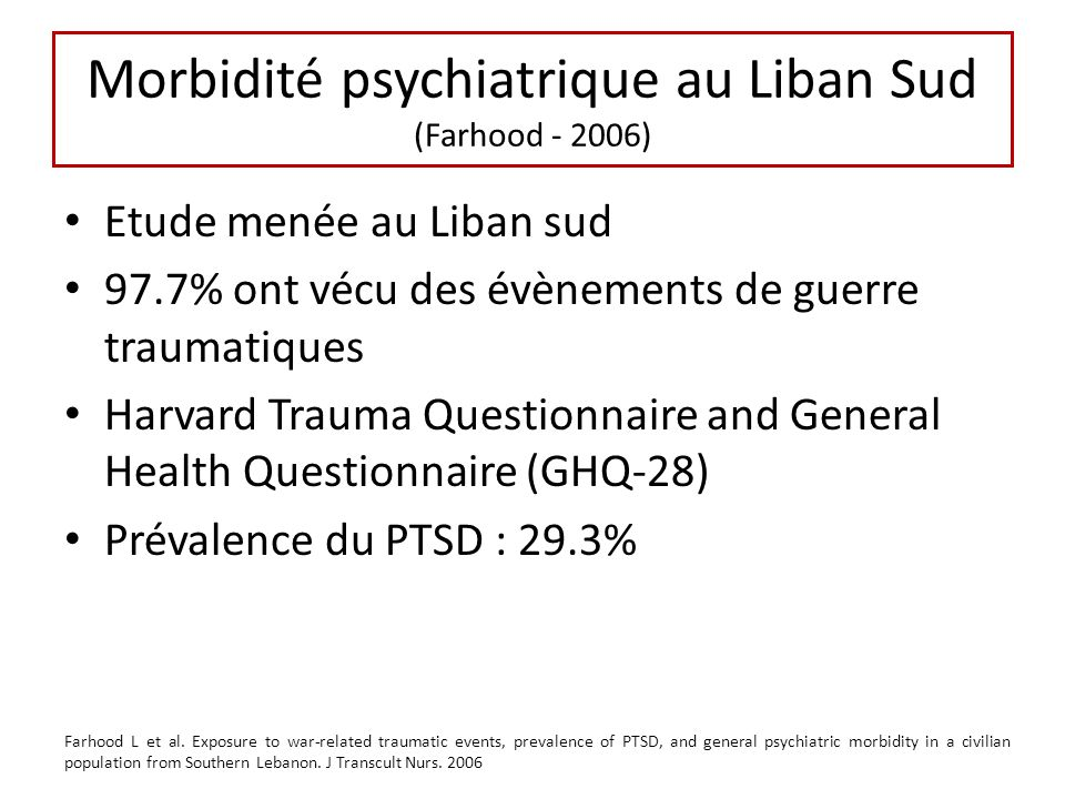 Morbidité psychiatrique au Liban Sud (Farhood - 2006)