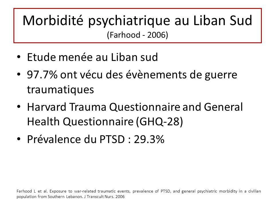 Morbidité psychiatrique au Liban Sud (Farhood - 2006)