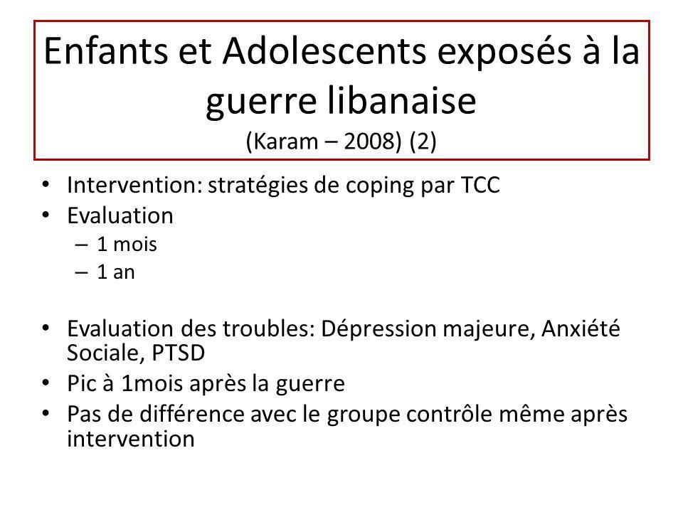 Enfants et Adolescents exposés à la guerre libanaise (Karam – 2008) (2)
