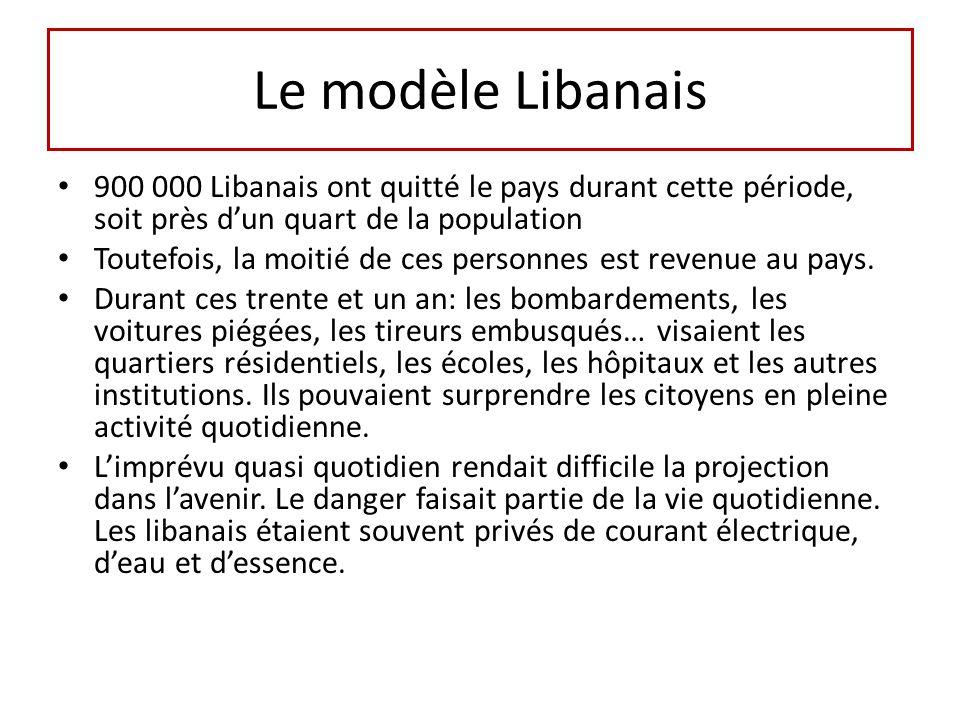 Le modèle Libanais 900 000 Libanais ont quitté le pays durant cette période, soit près d'un quart de la population.