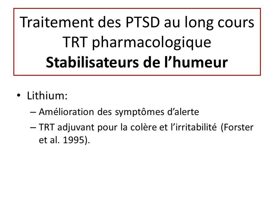 Traitement des PTSD au long cours TRT pharmacologique Stabilisateurs de l'humeur