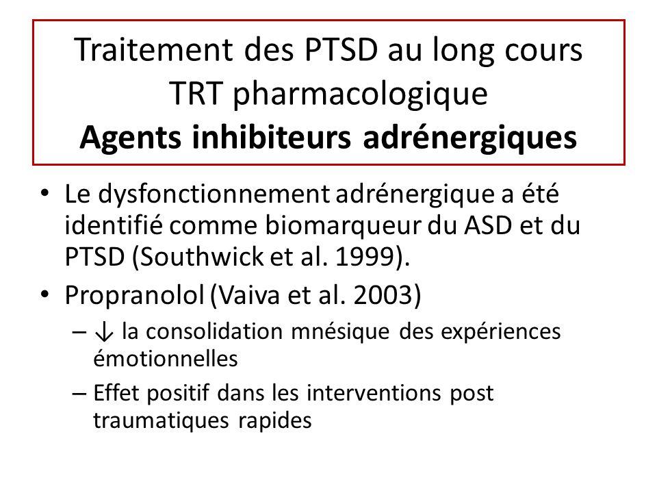 Traitement des PTSD au long cours TRT pharmacologique Agents inhibiteurs adrénergiques