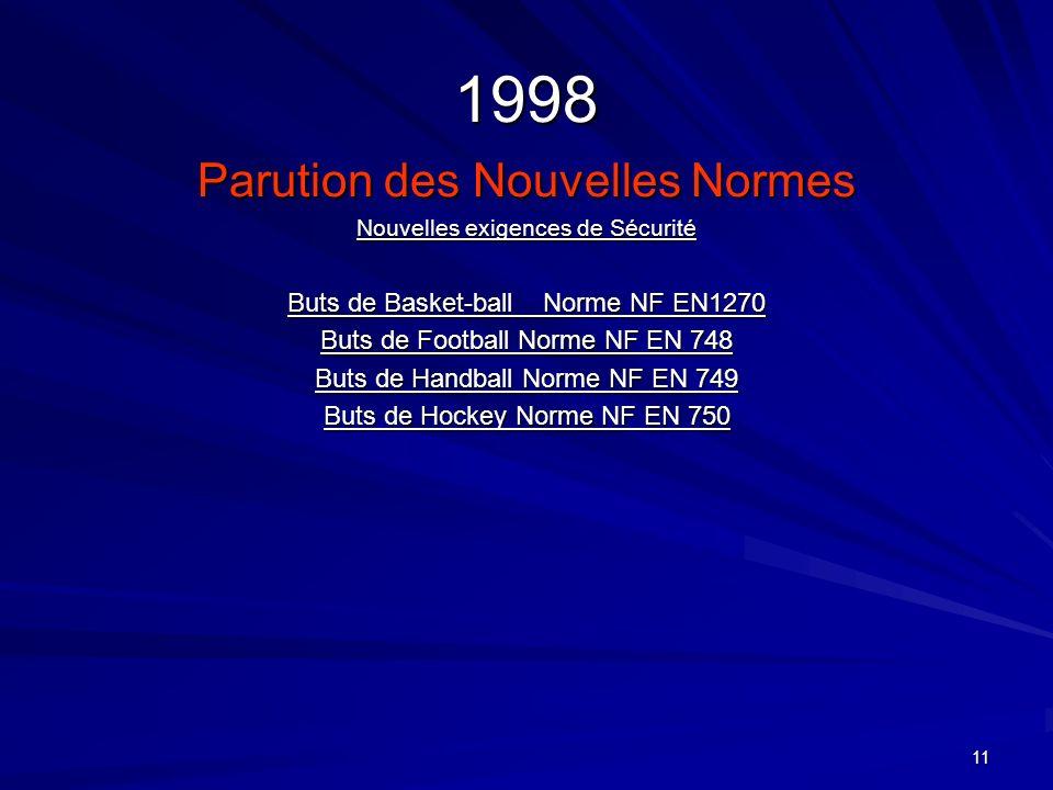 1998 Parution des Nouvelles Normes Buts de Basket-ball Norme NF EN1270