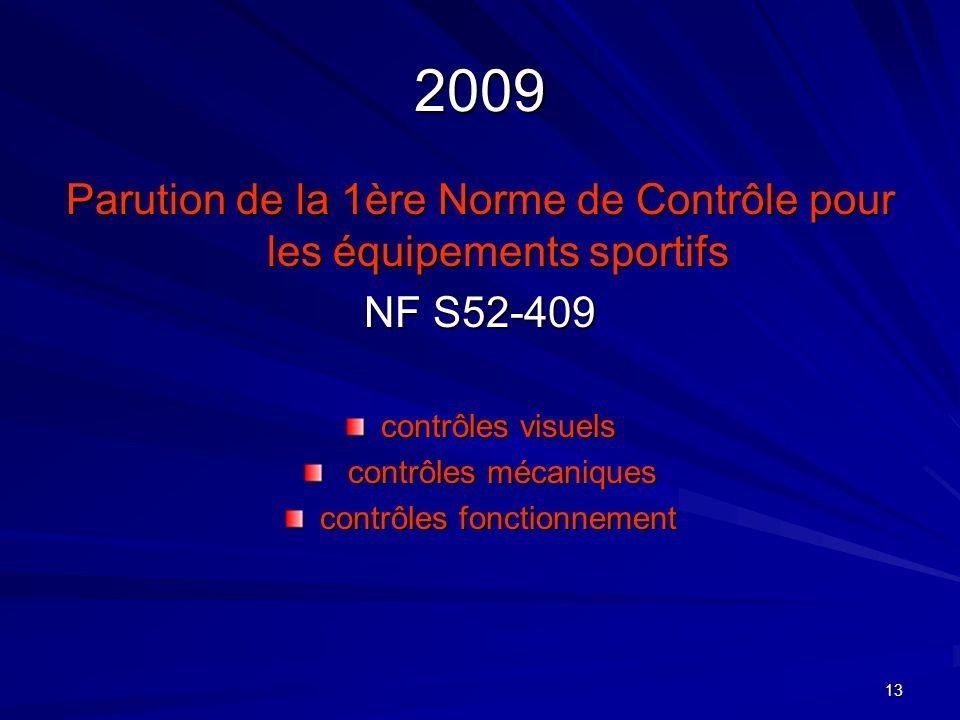 2009 Parution de la 1ère Norme de Contrôle pour les équipements sportifs. NF S52-409. contrôles visuels.