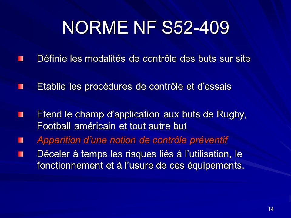 NORME NF S52-409 Définie les modalités de contrôle des buts sur site