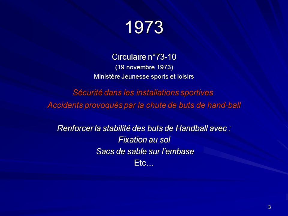 1973 Circulaire n°73-10 Sécurité dans les installations sportives