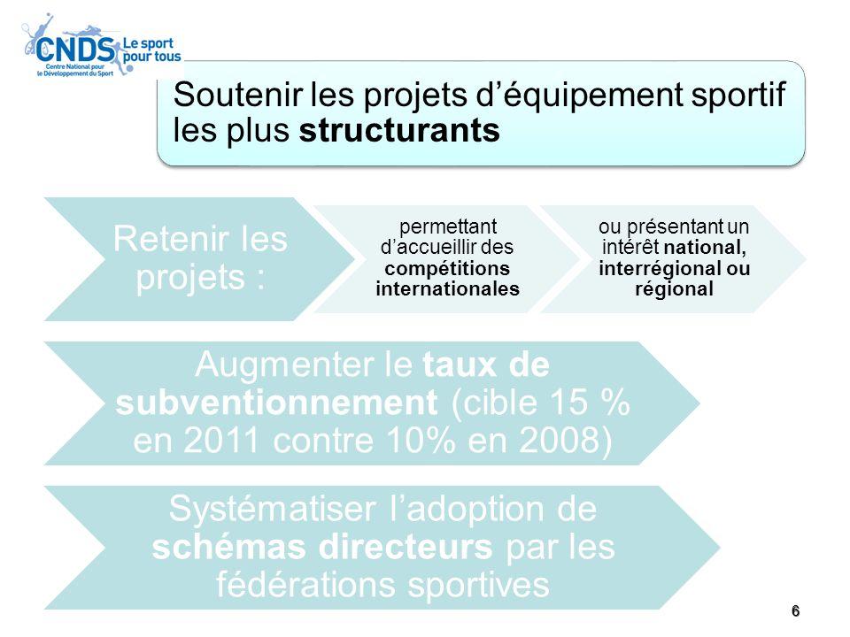 Soutenir les projets d'équipement sportif les plus structurants