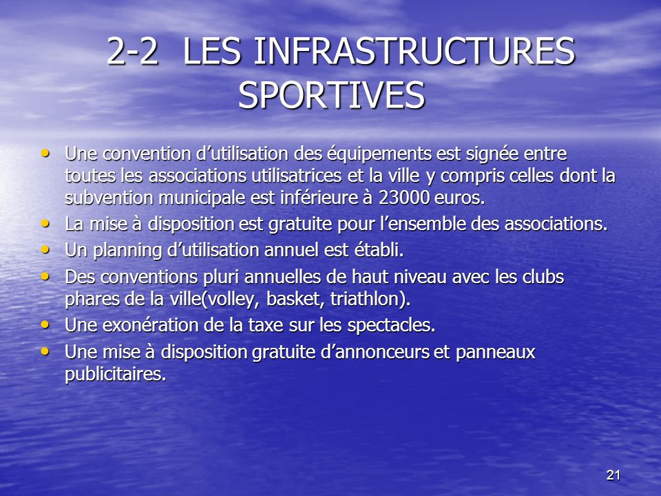 2-2 LES INFRASTRUCTURES SPORTIVES