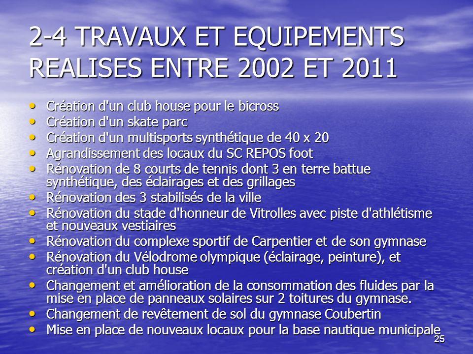 2-4 TRAVAUX ET EQUIPEMENTS REALISES ENTRE 2002 ET 2011