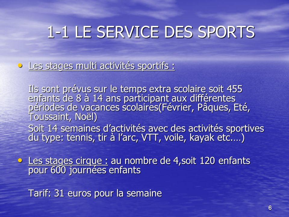1-1 LE SERVICE DES SPORTS Les stages multi activités sportifs :