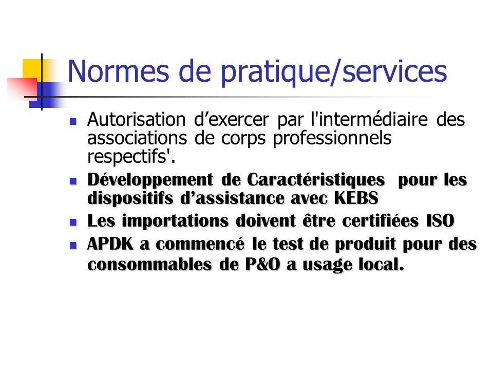 Normes de pratique/services