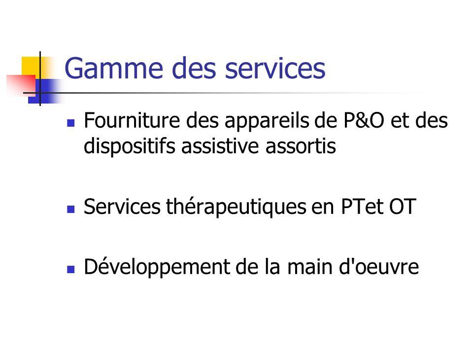 Gamme des services Fourniture des appareils de P&O et des dispositifs assistive assortis. Services thérapeutiques en PTet OT.
