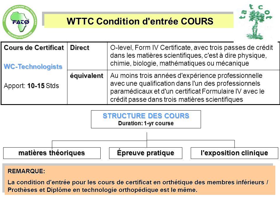 WTTC Condition d entrée COURS