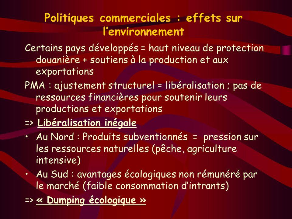 Politiques commerciales : effets sur l'environnement