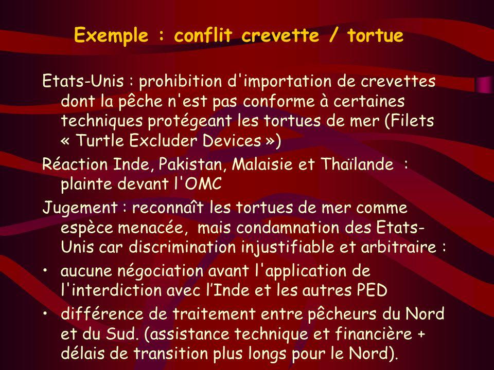 Exemple : conflit crevette / tortue