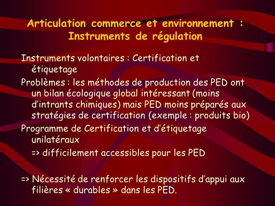 Articulation commerce et environnement : Instruments de régulation